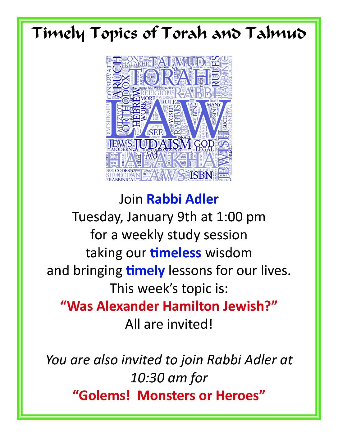 Timely Topics of Torah and Talmud