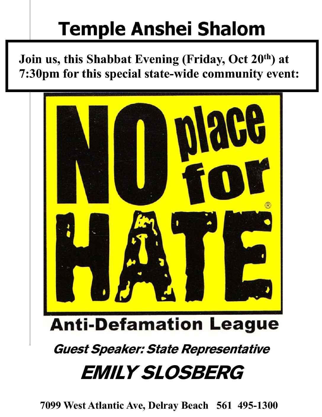 Special Shabbat - Community Event - No Place for Hate