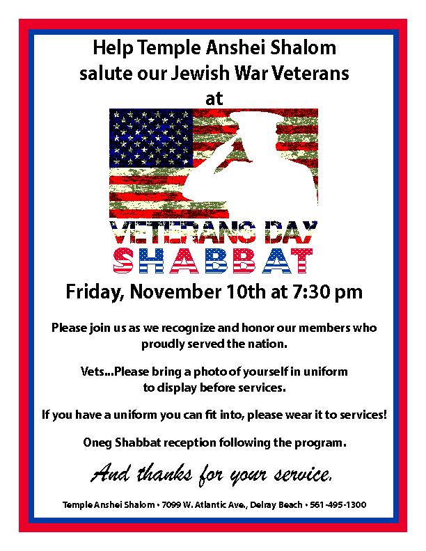 Veterans Day Shabbat
