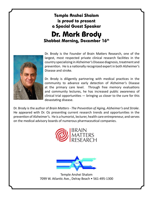 Special Guest Speaker: Dr. Mark Brody
