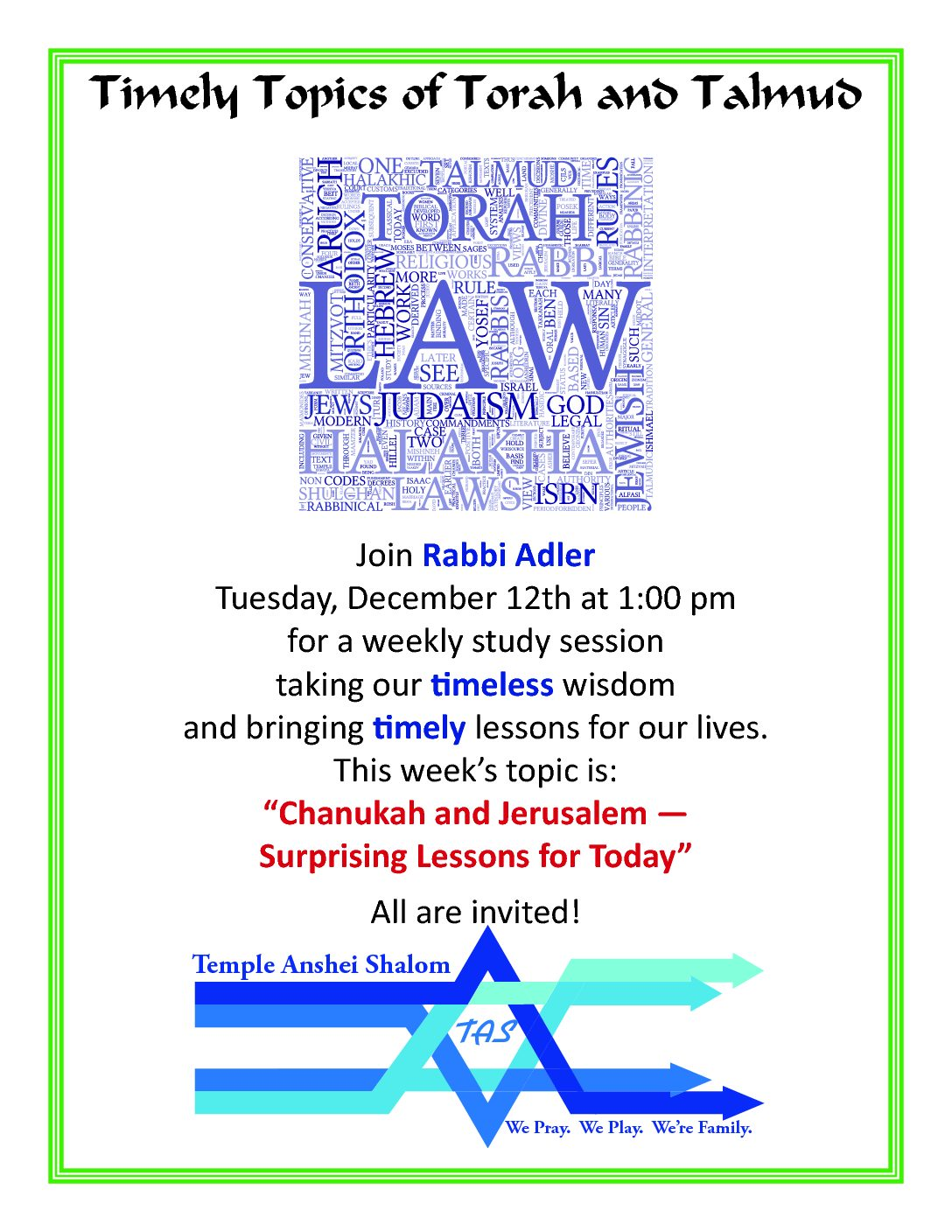 Timely Topics of Torah and Talmud with Rabbi Adler