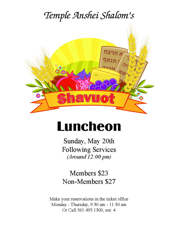Shavuot Luncheon