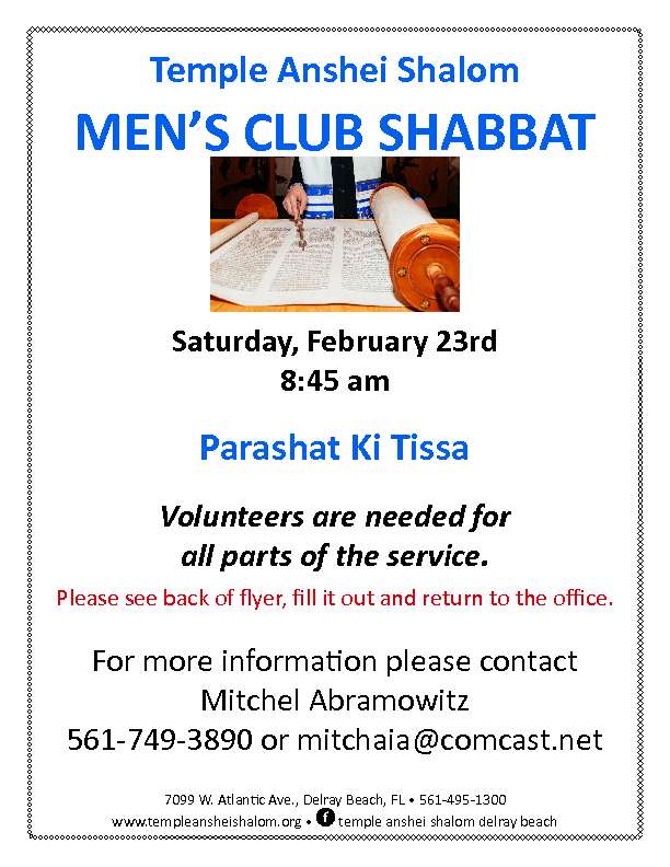 Mens Club Shabbat Program